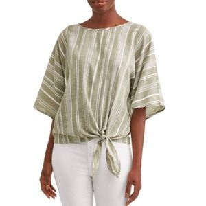 Time and Tru Striped Dolman Side Tie Top Green L